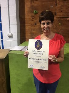 Kathy with her Lilley Australia Day Award